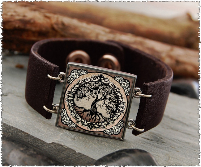 Tree of Life Brown Double Sided Leather Cuff Bracelet