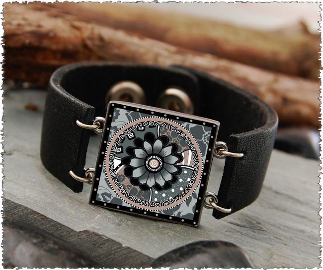 Gray Black Flower Double Sided Leather Cuff Bracelet