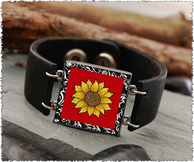 Sunflower Red Double Sided Leather Cuff Bracelet
