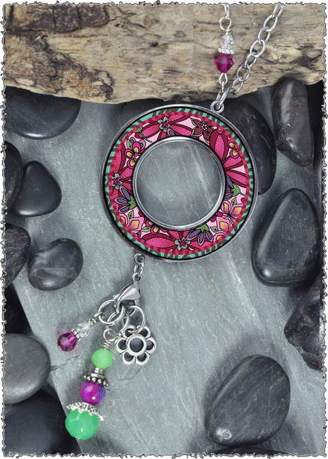 Pink Flower Reversible Beaded Open Circle Charm Pendant