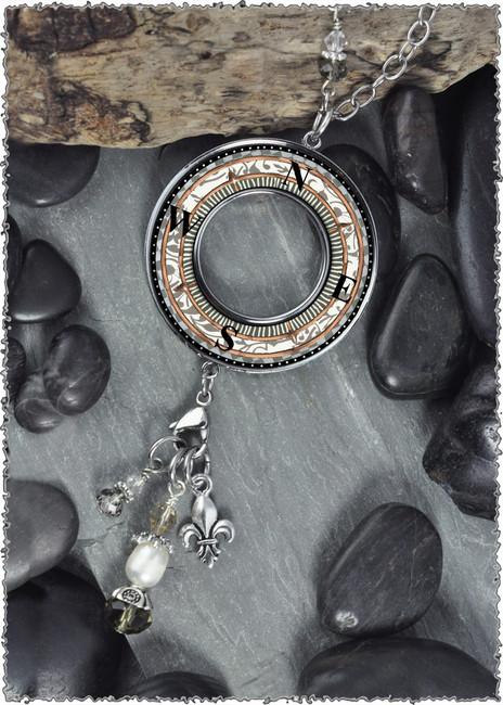 Compass Reversible Beaded Open Circle Charm Pendant