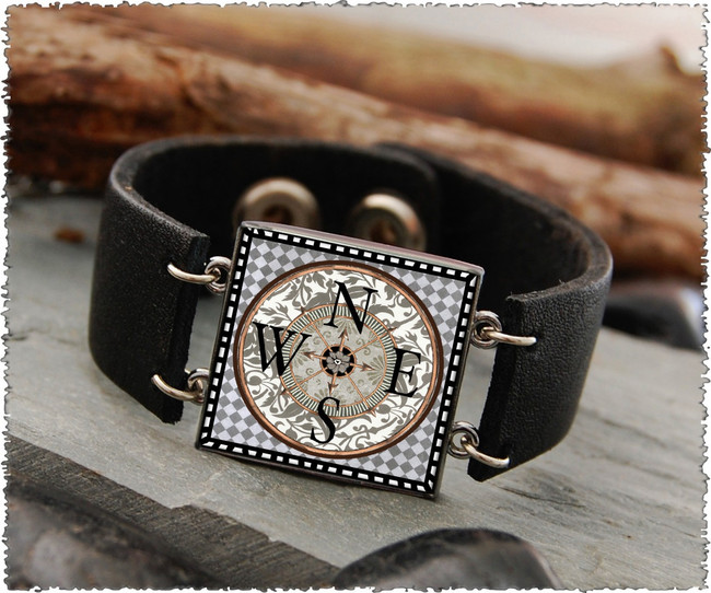Compass Double Sided Leather Cuff Bracelet
