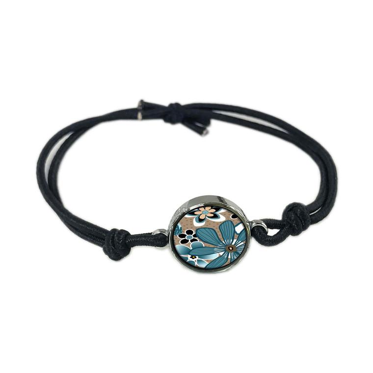 Teal Flower Reversible Stretch Bracelet