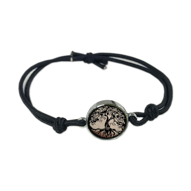Tree of Life Brown Reversible Stretch Bracelet