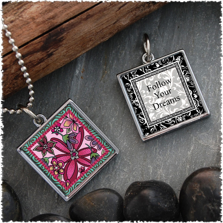 Pink Flower Reversible Square Pendant