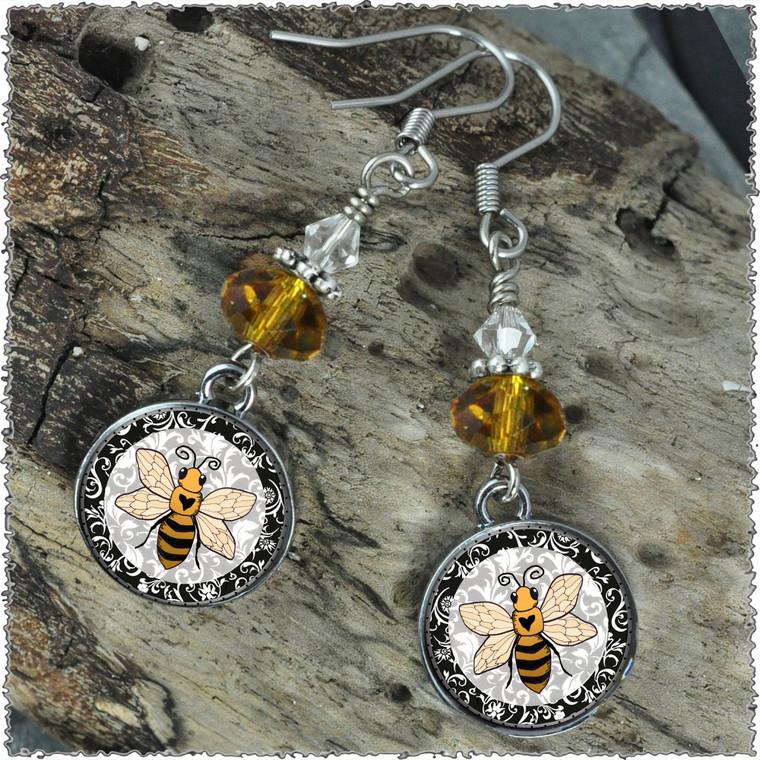 Bee Crystal Circular Earrings
