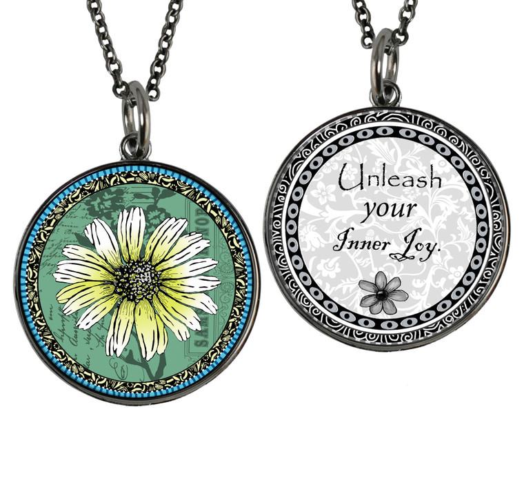 Daisy Green Reversible Circular Pendant