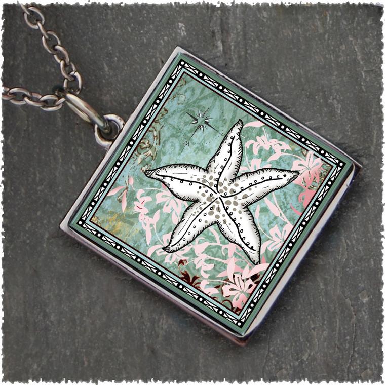 Starfish Reversible Square Pendant