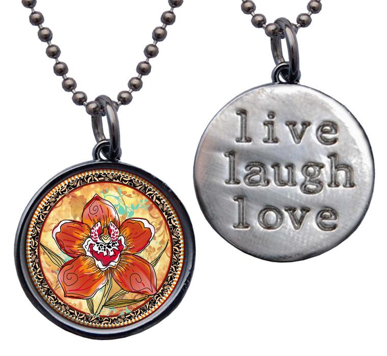 """Orchid """"Live, Laugh, Love"""" Circle Pendant"""