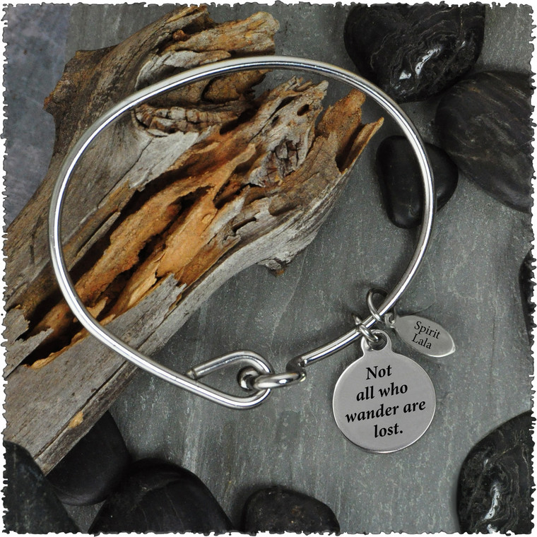 Compass Rose Stainless Bangle with Reversible Charm