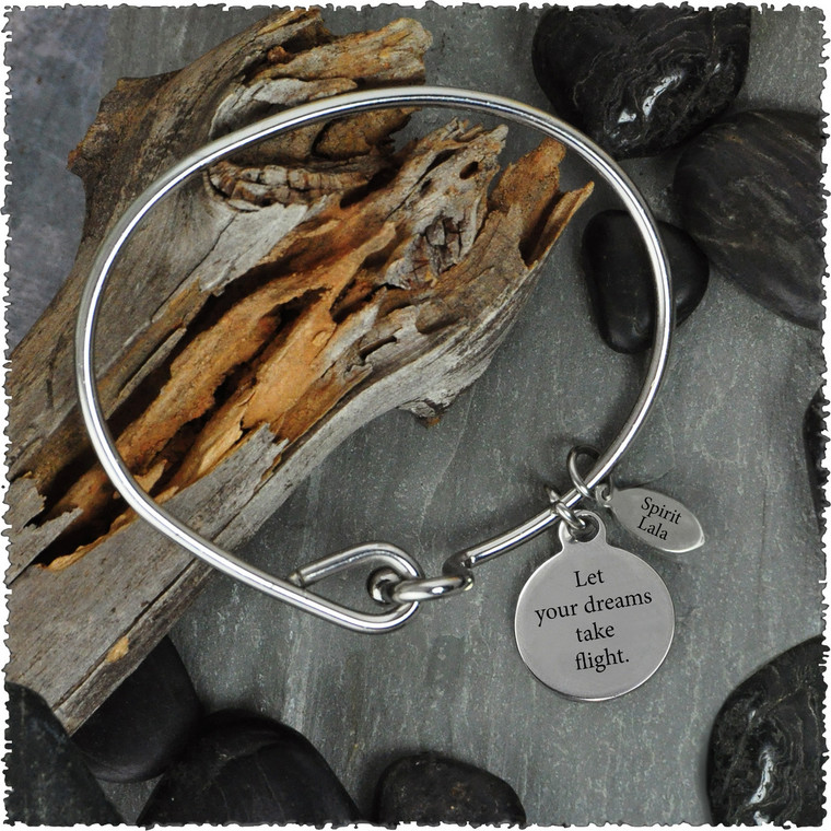Dragonfly Stainless Bangle with Reversible Charm