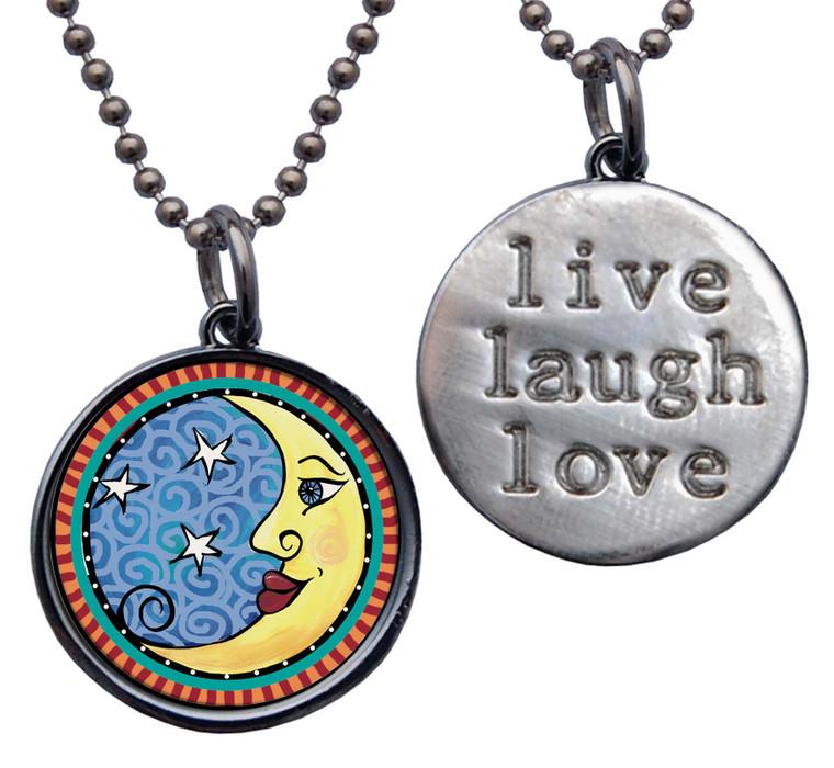 "Moon ""Live, Laugh, Love"" Circle Pendant"