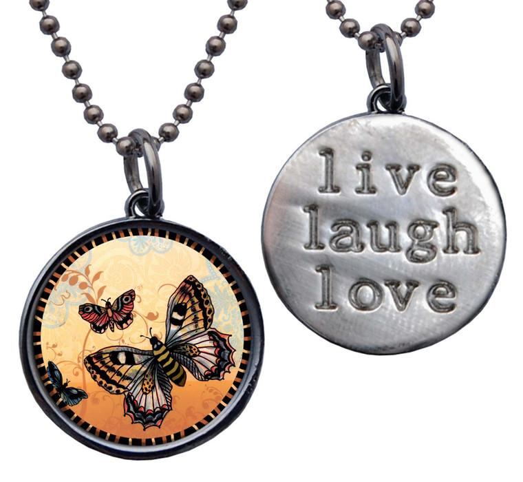 "Orange Butterfly "" Live, Laugh, Love"" Circle Pendant"