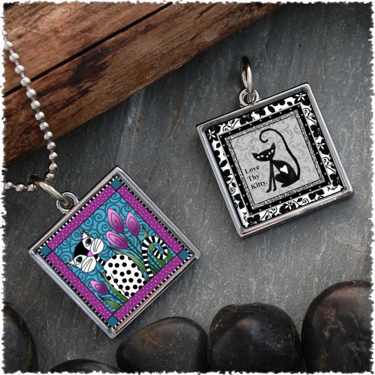 Black White Cat Reversible Square Pendant