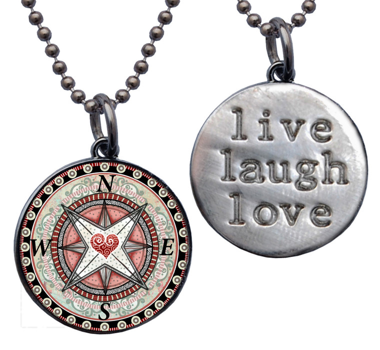 "Compass Heart ""Live, Laugh, Love"" Circle Pendant"