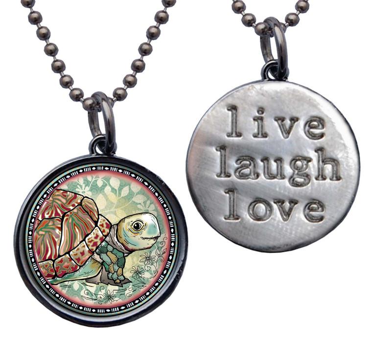 "Turtle ""Live, Laugh, Love"" Circle Pendant"
