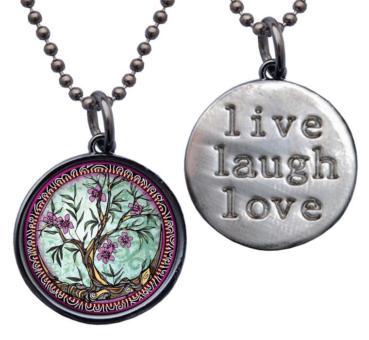 "Tree of Life Fusia ""Live, Laugh, Love"" Circle Pendant"