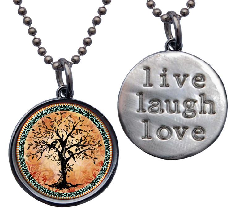 "Tree of Life Orange ""Live, Laugh, Love"" Circle Pendant"