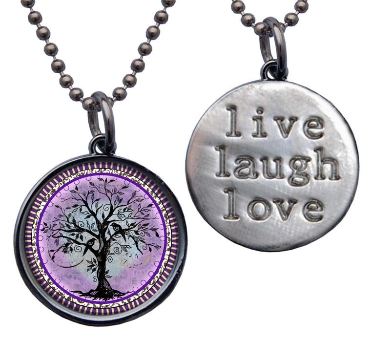 "Tree of Life Purple ""Live, Laugh, Love"" Circle Pendant"