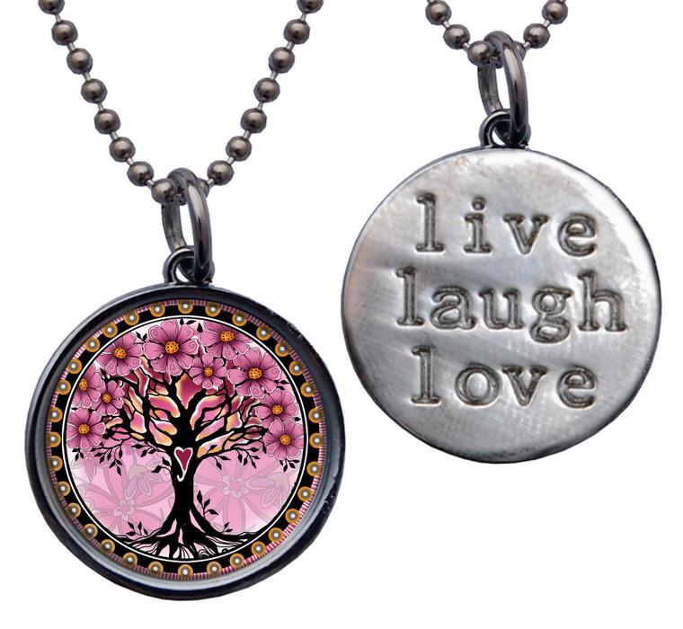 "Tree of Life Pink ""Live, Laugh, Love"" Circle Pendant"