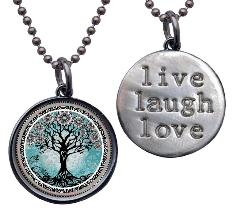 "Tree of Life Teal ""Live, Laugh, Love"" Circle Pendant"