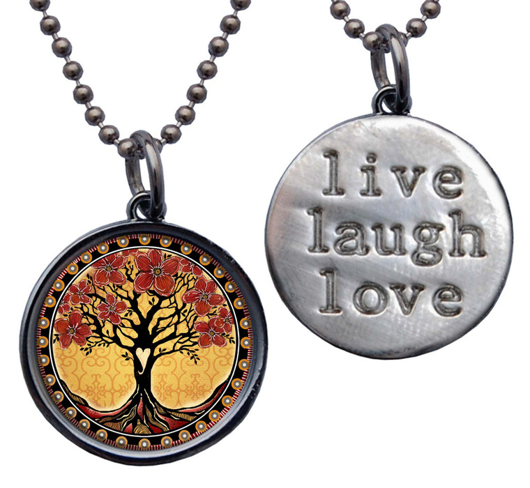 """Tree of Life Red Yellow """"Live, Laugh, Love"""" Circle Pendant"""