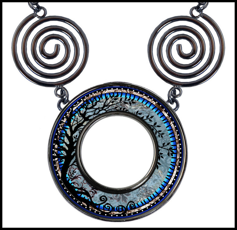 Tree of Life Blue Circle Spiral Necklace