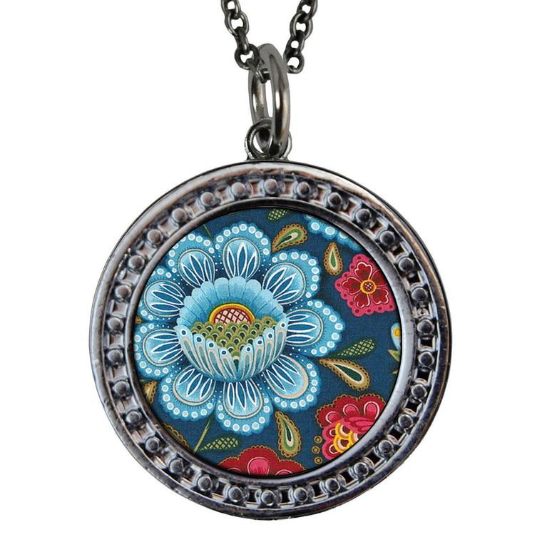 "Blue Flower Circular Reversible Vintage ""Leaf"" Pendant"