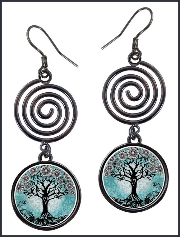 Tree of Life Teal Circle Spiral Earrings