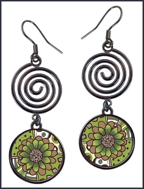 Green Brown Flower Circle Spiral Earrings