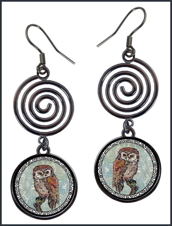 Owl Blue Circle Spiral Earrings