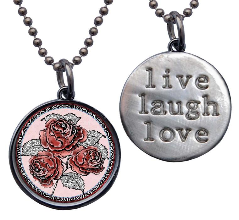 "Red Rose "" Live, Laugh, Love"" Circle Pendant"