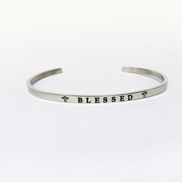 """""""BLESSED"""" Stainless Steel Cuff Bracelet"""