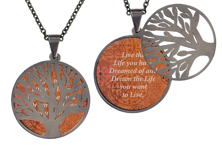 """Poetry Tree - Purple Background - Be Yourself & Love Who You Are. Stainless Steel Tree of Life on Stainless Steel Chain. Nice Quality Substantial Weight. 28"""" Regular Stainless Steel Chain W- 1 1/8, H- 1 1/8, D- 1/8"""" (thick)"""