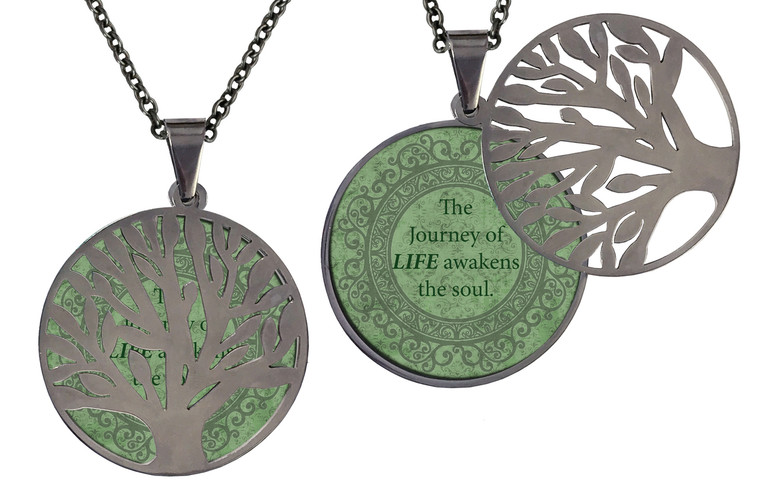 """Poetry Tree - Green Background - The Journey Of Life Awakens The Soul. Stainless Steel Tree of Life on Stainless Steel Chain. Nice Quality Substantial Weight. 28"""" Regular Stainless Steel Chain W- 1 1/8, H- 1 1/8, D- 1/8"""" (thick)"""