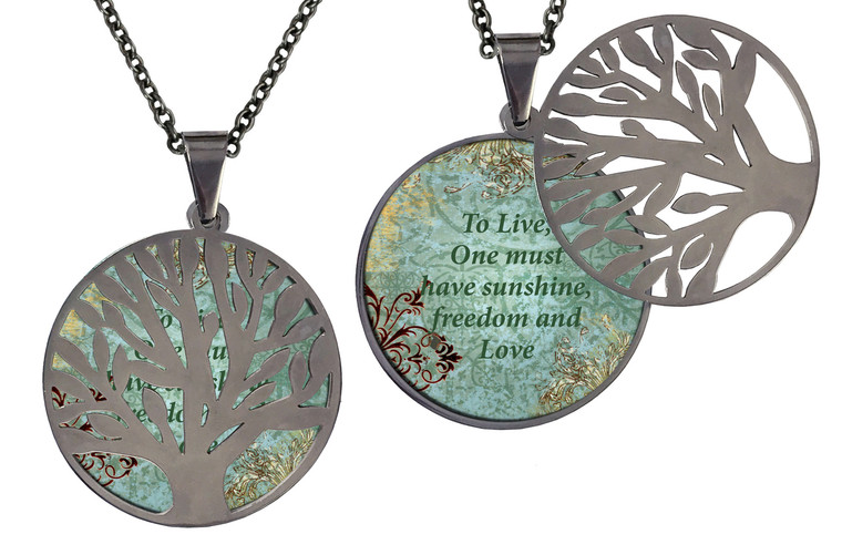 """Poetry Tree - Teal/Brown -To Live, One Must Have Sunshine And Freedom. Stainless Steel Tree of Life on Stainless Steel Chain. Nice Quality Substantial Weight. 28"""" Regular Stainless Steel Chain W- 1 1/8, H- 1 1/8, D- 1/8"""" (thick)"""