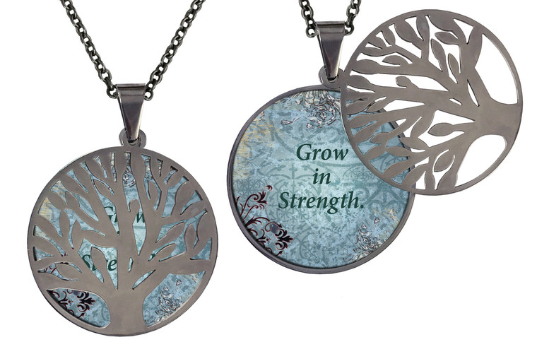 """Poetry Tree - Blue Background -Grow In Strength. Stainless Steel Tree of Life on Stainless Steel Chain. Nice Quality Substantial Weight. 28"""" Regular Stainless Steel Chain W- 1 1/8, H- 1 1/8, D- 1/8"""" (thick)"""