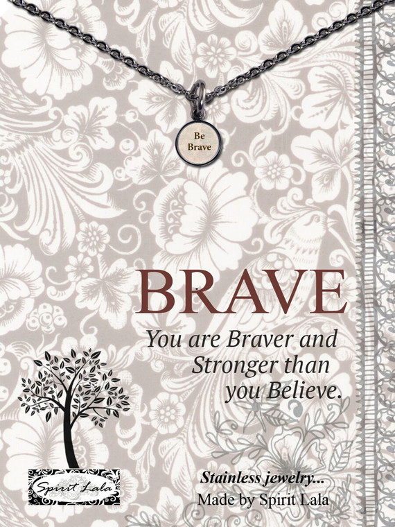 Carded Be Brave Small Circle Necklace