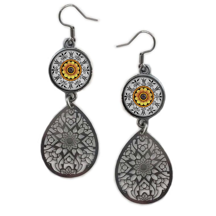 Marigold Mandala Circle Filigree Drop Earring