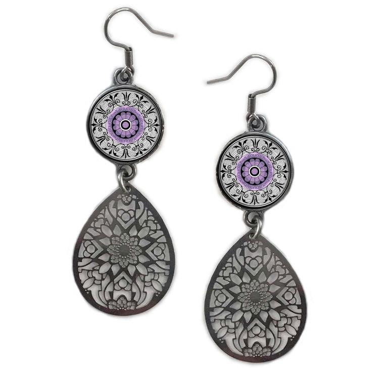 Purple Mandala Circle Filigree Drop Earring