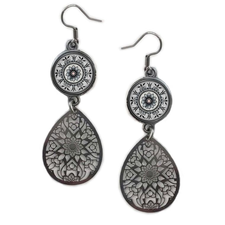 Grey Mandala Circle Filigree Drop Earring
