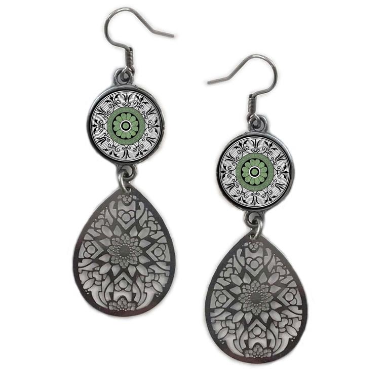 Green Mandala Circle Filigree Drop Earring