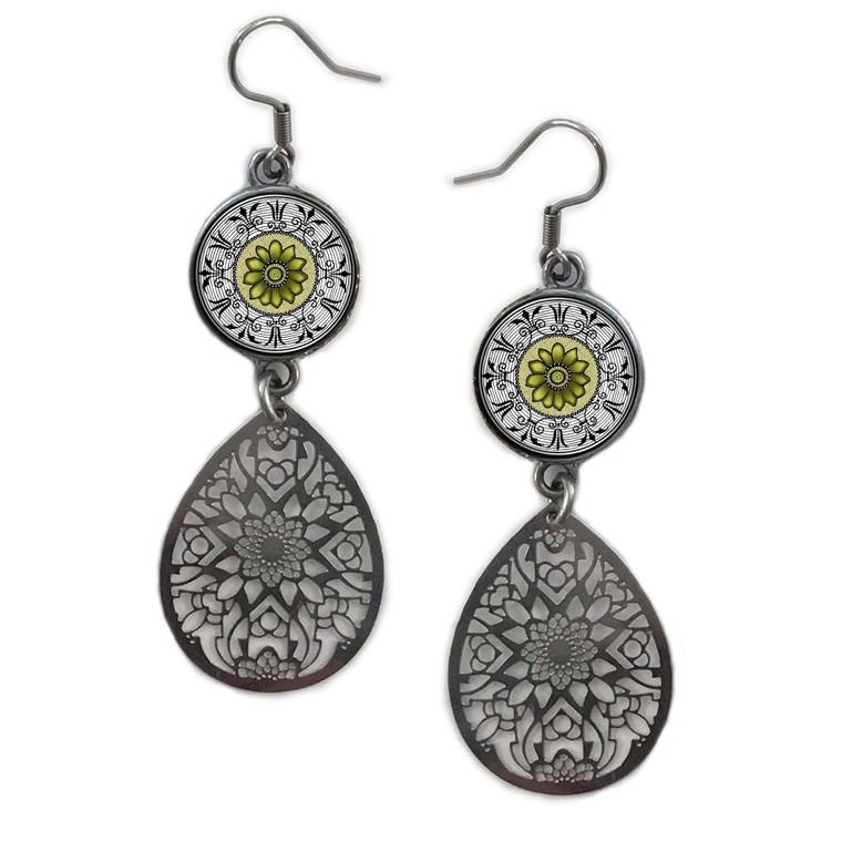 Lime Green Mandala Circle Filigree Drop Earring
