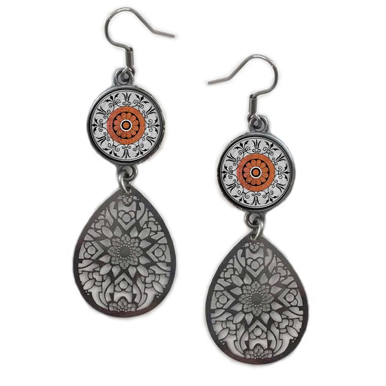 Orange Mandala Circle Filigree Drop Earring