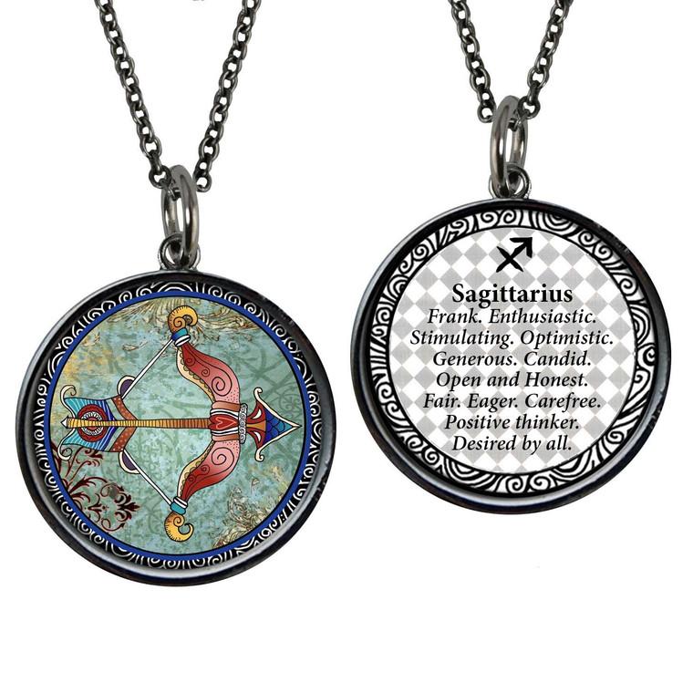 Zodiac Sagittarius Reversible Circular Pendant