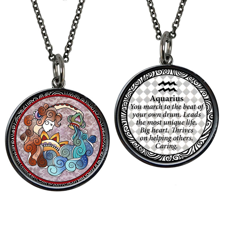 Zodiac Aquarius Reversible Circular Pendant