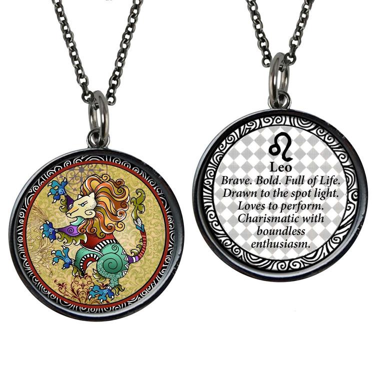 Zodiac Leo Reversible Circular Pendant