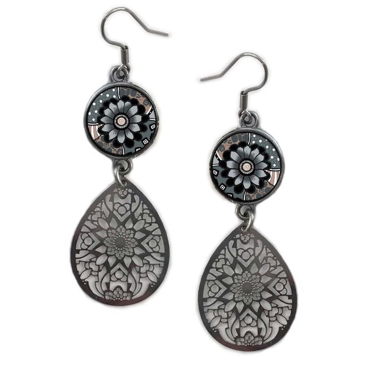 Grey Black Flower Circle Filigree Drop Earring