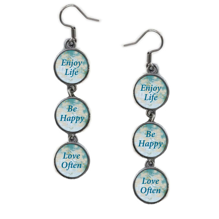 Triple Circle Drop Abstract Be Happy Quote Art Earring