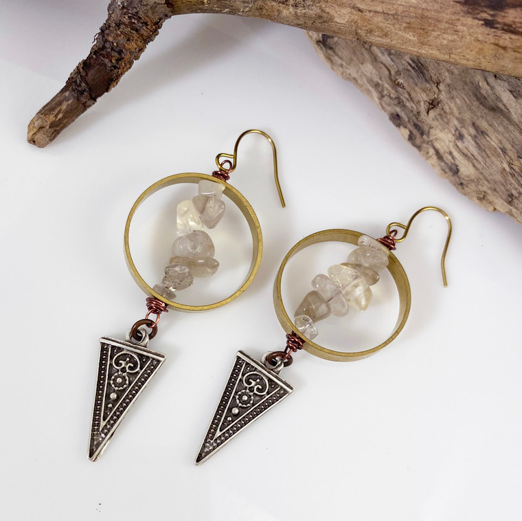 Stone Spike Crystal Earring